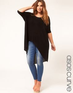 ASOS CURVE Jersey Top With Dip Back - plus size