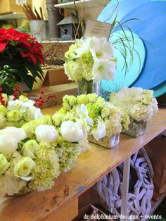 White & Green holiday party arrangements
