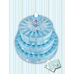 3 Tier Blue Baby Shower Party Favor Cake Kit - It's a Boy!