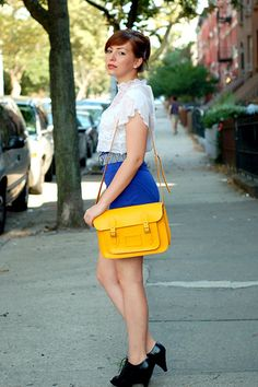 Keiko Lynn looking fab with a Classic Yellow satchel!