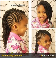 20 Cute Natural Hairstyles for Little Girls - From pony puffs to decked out cornrow designs to braided styles, natural hairstyles for little girls can be the cutest added bonus to their precious little faces.   side-cornrows-and-twists-natural-hairstyle-for-little-girls