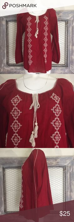 Lucky Brand Shirt Womens BOHO Red XXL 🍀Lucky Brand🍀  Womens Shirt Long Sleeve Red BOHO 100% Cotton Light Embroidered Keyhole  Size: XXL  Used, No significant wear or flaws. Smoke & pet free home. Lucky Brand Tops Blouses