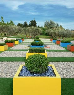 Colorful pots for this garden
