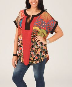 Loving this Coral & Black Patchwork Notch Neck Tunic - Plus on #zulily! #zulilyfinds