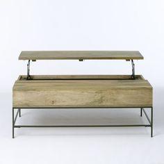 Rustic Storage Coffee Table | West Elm, photo revealing storage