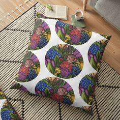 'Flower Bouquets ' Floor Pillow by Laurajart Buy Flowers, Bright Flowers, Floor Pillows, Throw Pillows, Flower Bouquets, Free Stickers, Pillow Design, Large Prints, My Arts