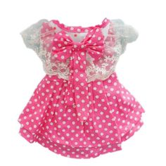 Pink Princess Polka Dot Dog Dress for Dog Shirt Fashion Cozy Dog Clothes Free Shipping,M