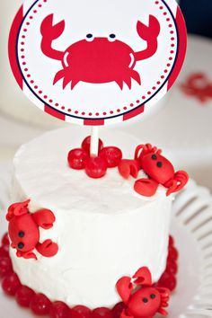 Nautical Crab Party Printable 4 inch Party Circles by tomkatstudio Crab Birthday Cakes, Beautiful Cakes, Amazing Cakes, Crab Party, Crab Shack, Gateaux Cake, Nautical Party, Crab Cakes, Let Them Eat Cake