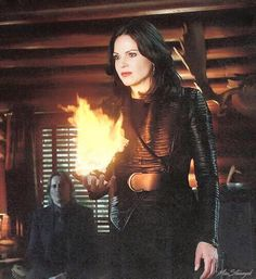 Awesome Regina holding an awesome fireball in an awesome fourth season episode of Once