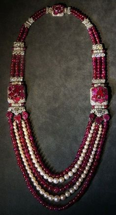 Cartier Sautoir, 1930, special order, platinum, diamonds, rubies, pearls.