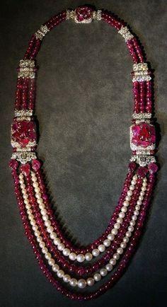 Cartier Sautoir, 1930, special order, platinum, diamonds, rubies, pearls.