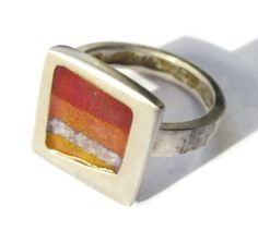 SOLD. Vintage enamel and sterling silver ring, Joid'art of Barcelona, brushed silver, modernist design, Spanish jewellery, sunset colours. https://www.etsy.com/listing/266062900/vintage-enamel-and-sterling-silver-ring