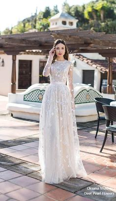 Oksana Mukha Wedding Dresses 2019 is part of Wedding dresses simple - tps header] Romanticism and sensuality, femininity and style, semitone colors and graceful textures all this was laid in the basis of the new Wedding Dress Chiffon, Modest Wedding Dresses, Bridal Dresses, Wedding Gowns, Lace Dress, Prom Dresses, Ling Sleeve Wedding Dress, Wedding Shoes, Wedding Favors