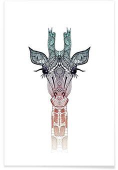 Giraffe als Premium Poster door Monika Strigel | JUNIQE