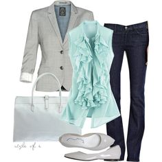 Perfect outfit for a dinner date, or a evening stroll around town. This light gray blazer with Tiffany blue ruffle tank and dark denim jeans all put together make an perfect stylish outfit. Mode Chic, Mode Style, Looks Style, Style Me, Mode Outfits, Casual Outfits, Formal Outfits, Casual Wear, Dressy Attire