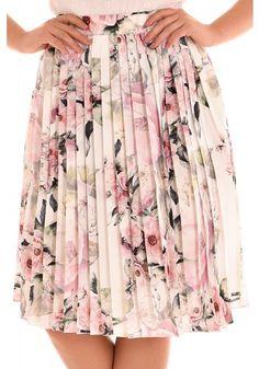 conjunto blusa off white manga curta bordada saia evase plissada off white estampa floral midi fascinius viaevangelica frente detalhe 3