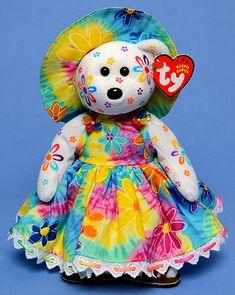 Tie Dye Peace and Love Daisy - Tina Tate decorated Ty bear Rare Beanie Babies, Original Beanie Babies, Beanie Baby Bears, Ty Beanie Boos, Ty Peluche, Ty Dye, Ty Bears, Ty Babies, Cute Stuffed Animals