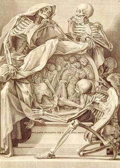 Life and Death Credit: Rome, 1691. Copperplate engraving. National Library of Medicine The association between death and anatomy continued in art anatomy, even as it waned in medical texts, as shown here. Bernardino Genga, a Roman anatomist, specialized in studies of classical sculptures, while Charles Errard, court painter to Louis XIV, helped found the Académie Royale de Peinture and was first Director of the Académie de France in Rome.
