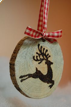 Wood Slice Christmas Ornaments by OlsonDetails on Etsy, $7.00
