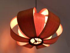 Mid Century Modern Jose Antonio Cordech bent wood Cister lamp chandelier