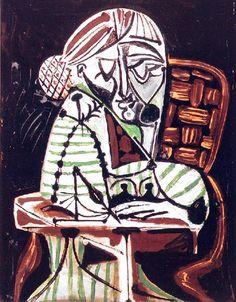 Pablo Picasso - Femme Dessinant, 1951