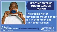 LIKE and SHARE: The lifetime risk of developing mouth cancer is 1 in 84 for men and 1 in 160 for women. Mouth cancer can affect anyone! Know the risk factors - http://www.mouthcancer.org/risk-factors/ #MCAM14 #Bemouthaware #bluelipselfie #MouthCancer