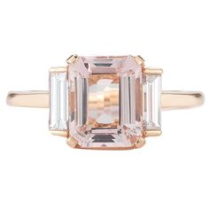 Rose Gold 3 Carat Emerald Cut Morganite and Diamond Ring | From a unique…