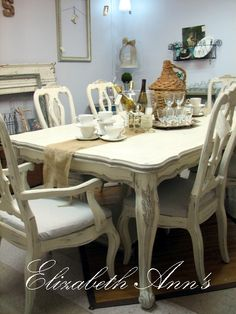 Table And Six Chairs Painted With Old White And Lightened French Linen  Www.facebook.