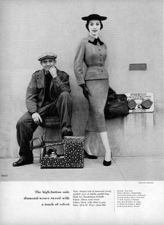 The high-button tweed suit - Charm Magazine August 1954 (model Sherry Nelms, photo by William Helburn).