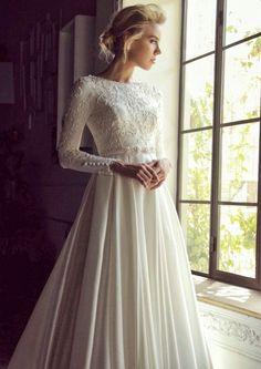 A Cut, Hijab - Indoor and Long Sleeve Wedding Dress - Hochzeitskleid Modest Wedding Gowns, Muslim Wedding Dresses, Dream Wedding Dresses, Bridal Gowns, Wedding Hijab, Autumn Wedding Dresses, Lace Wedding, Hijab Bride, Muslim Brides