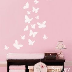 butterfly wall decor for nursery | Butterflies Set of 16 Nursery Vinyl Wall Decal | Smileywalls ...