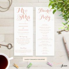 Mr & Mrs printable Wedding Order of Service program template. Download, edit print and trim! Modern script design.