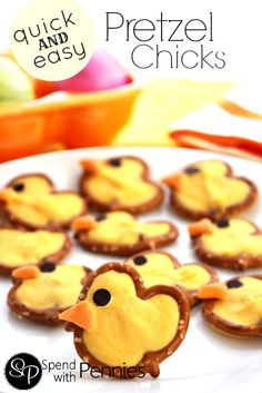 Quick and Easy Pretzel Chicks! Holiday Desserts, Easter Desserts, Easter Recipes, Easter Treats, Holiday Fun, Holiday Recipes, Holiday Treats, Hoppy Easter, Easter Eggs