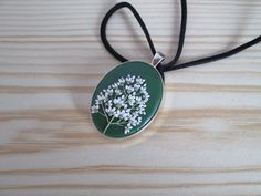 Unique Handmade Polymer Clay Oval Pendant/Necklace Floral/Tree in Dark Green