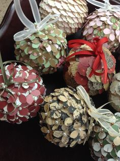 Paper Punched Christmas Ornaments by TheCountryCrab on Etsy