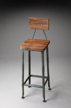 Metalworks Bar Stool with Wooden Seat and Back - rustic - bar stools and counter stools - new york - Dexter Sykes Industrial Counter Stools, Counter Stools With Backs, Rustic Bar Stools, Outdoor Bar Stools, Metal Bar Stools, Modern Bar Stools, Kitchen Stools, Pub Stools, Kitchen Island