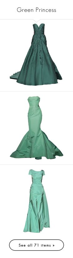 """""""Green Princess"""" by kari-c ❤ liked on Polyvore featuring dresses, gowns, green ball gown, couture dresses, elie saab, couture gowns, green gown, long dresses, vestidos and zac posen gowns"""
