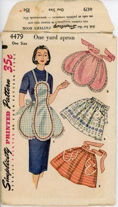 1950s One Yard Apron Pattern Simplicity 4479