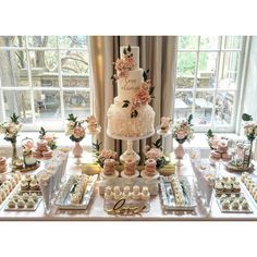 Dessert bar wedding - One of the dreamiest places we have the pleasure of working in is couturecuisine! We created this table for an incredibly sweet couple on the long weekend, and also got to work with one o Sweet Table Wedding, Dessert Bar Wedding, Bridal Shower Desserts, Candy Bar Wedding, Wedding Sweets, Bridal Shower Decorations, Wedding Decorations, Elegant Dessert Table, Wedding Ideas