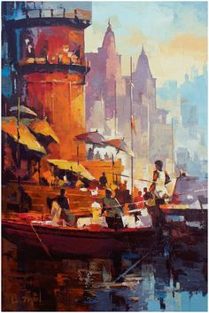Varanasi , Acrylic On canvas.  Artist - Satheesh Kanna