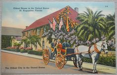 Post Card *LINEN* Oldest House in The United States, St. Augustine FLORIDA