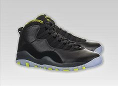 KIX & LIDZ: Air Jordan X (10) Retro - Black/Venom Green-Cool Grey...This is the Air Jordan X(10)Retro in the Black/Venom Green-Cool Grey-Anthracite colorway. These kix feature a Phylon midsole, a quick lace system, elastic bands across the midfoot, and were originally made available in 8 colorways. You can purchase these kix online at Sneakerhead.com and other Jordan retailers.