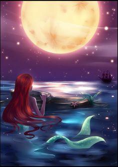 Tags: Mermaid, Ship, Red Moon, Little Mermaid, Ariel, Stars (Sky)