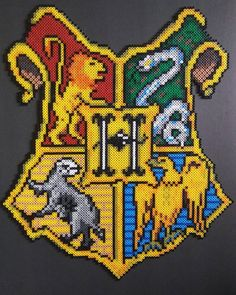 Hogwarts crest - Harry Potter perler beads by perling_pearson