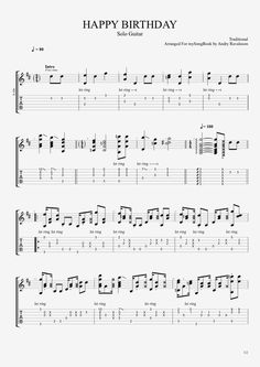 Traditional Happy Birthday Guitar sheet music & tab
