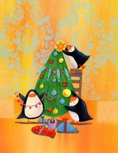 Barbara Vagnozzi - Penguins And Chrismas Tree