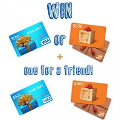 WIN a VISA or Home Depot gift card... for you PLUS a friend!! //enter at LollyJane.com