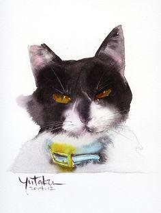 Акварельные котики японского художника Yutaka Murakami #Акварель@cats_in_art (2 часть)