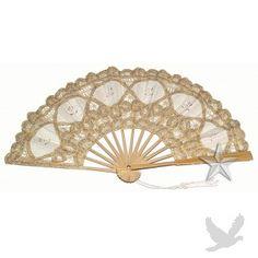 Large Gold Lace Hand Fan With Embroidery