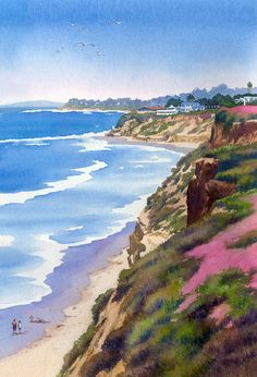 North County Coastline Revisited by Mary Helmreich ~ watercolor coastal California